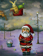 Rabbit Posters - Sleigh Jacker Poster by Leah Saulnier The Painting Maniac