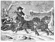 Sled Dog Framed Prints - Sleigh Ride, 1868 Framed Print by Granger