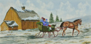 England Artist Paintings - Sleigh Ride by Charlotte Blanchard
