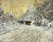 Impressionism Landscape Framed Prints - Sleigh Ride in Central Park Framed Print by Childe Hassam