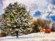 Couple In Snow Posters - Sleigh Ride Poster by Jai Johnson