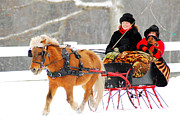 Christmas Holiday Scenery Art - Sleigh Ride by James Kirkikis