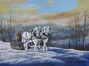 Team Paintings - Sleigh Ride by Sheila Banga