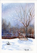 Snowy Night Posters - Sleigh Ride Poster by Wendy Cunico