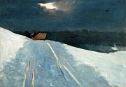 Snow-covered Landscape Painting Posters - Sleigh Ride Poster by Winslow Homer