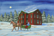Winter Night Painting Metal Prints - Sleigh Ride With A Full Moon Metal Print by Charlotte Blanchard