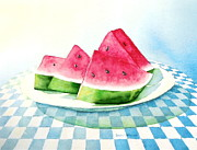 Watermelon Painting Posters - Slice of Summer Poster by Sandra Neumann Wilderman