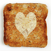 Toast Prints - Slice Of Toast With Heart Shape Print by Atli Mar Hafsteinsson