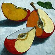 Red Framed Prints - Sliced Apple still life oil painting Framed Print by Linda Apple