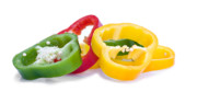 Glossy Framed Prints - Sliced Colorful Peppers Framed Print by Meirion Matthias