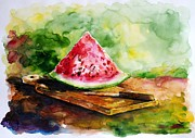 Watermelon Painting Posters - Sliced Watermelon Poster by Zaira Dzhaubaeva