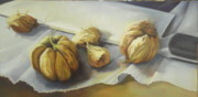Large Sized Metal Prints - Sliced....garlic Metal Print by Mary Ann Liscio