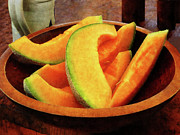 Cantaloupe Framed Prints - Slices of Cantaloupe Framed Print by Susan Savad