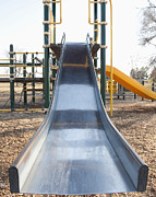 Clear Fall Day Posters - Slide and Playground Equipment Poster by Thom Gourley/Flatbread Images, LLC