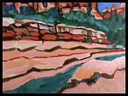 Slide Painting Prints - Slide Rock Park in Arizona Print by Betty Pieper