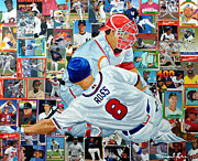 Major League Baseball Painting Prints - Sliding Home Print by Michael Lee