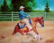 Reiner Paintings - Sliding Stop Phillip Reining Horse Portrait Painting by Kim Corpany