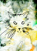 Cute Cat Digital Art Posters - Slim Poster by Ann Powell