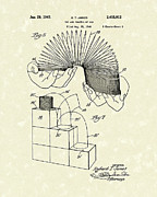 1940s Posters - Slinky Toy 1947 Patent Art Poster by Prior Art Design