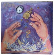 Clock Hands Painting Posters - Slip Sliding Away Poster by Cathi Doherty