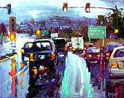Rainy Street Painting Originals - Slippery When Wet by Brian Simons