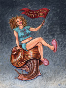 Humor Painting Prints - Slo Woman Print by Holly Wood
