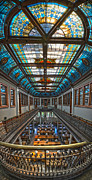 Hall Posters - Slocum Hall Romanesque Arcade and Stained-glass Skylight Ohio Wesleyan University Poster by Brian Mollenkopf