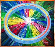 Pi Painting Posters - Slotted Ring Center Poster by Buddy Paul