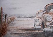 Rusted Cars Drawings Prints - Slow Demise Print by Terence John Cleary