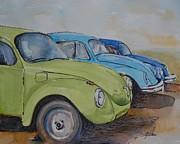 Vehicles Painting Framed Prints - Slugbug Green Framed Print by Gretchen Bjornson
