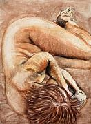 Nude Drawings Prints - Slumber Pose Print by Kerryn Madsen-Pietsch