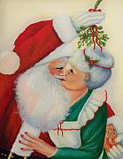 Xmas Paintings - Sly Santa by Joni McPherson