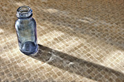 Glass Bottle Digital Art - Small Blue Bottle by Bonnie Bruno