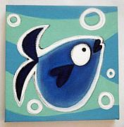 Hanging Pastels Originals - sMALL bLUE fISH by Mara Morea