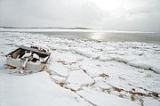 Town Pier Photos - Small boat sits on ice chuncks in Wellfleet on Cape Cod in winte by Matt Suess