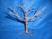Wire Tree Sculptures - Small Copper Wire Tree After an Ice Storm by Serendipity Pastiche