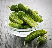 Crunchy Photos - Small cucumbers in bowl by Elena Elisseeva