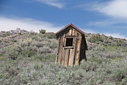Ghost Town Outhouse Prints - Small Ghost Town Outhouse Print by Jaak Nilson