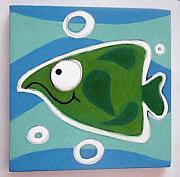 Hanging Pastels Originals - sMALL gREEN FiSH by Mara Morea
