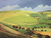 Fields Painting Posters - Small Green Valley Poster by Anna Teasdale