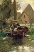 Fishing Painting Posters - Small Harbor with a Boat  Poster by Thomas Ludwig Herbst
