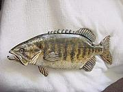Largemouth Bass Reliefs - Small Mouth Bass Number Three by Lisa Ruggiero