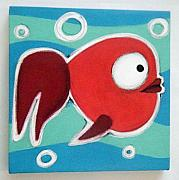 Hanging Pastels Originals - sMALL rED FiSH by Mara Morea