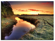 River Landscape Posters - Small River At Sunrise Poster by H-L-Andersen