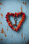 Blue Flowers Photo Posters - Small rose heart wreath with key Poster by Garry Gay