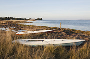 Beached Photos - Small Sail Boats Along Tidal Grasses by Paul Edmondson