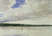 Tranquil Paintings - Small Sloop on Saco Bay by Winslow Homer