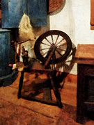 Knitting Posters - Small Spinning Wheel Poster by Susan Savad