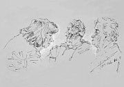 Old Ladies Drawings - Small Talk  over Coffee by Ylli Haruni