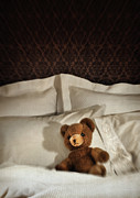 Pillow Photo Framed Prints - Small teddy bear on bed Framed Print by Sandra Cunningham